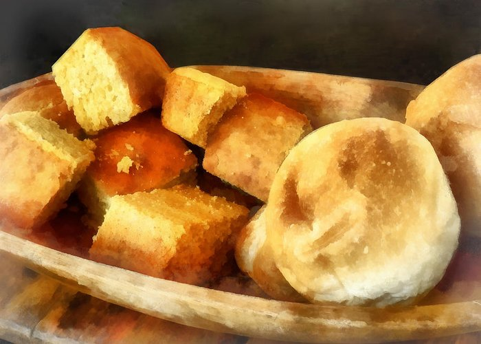 Cook Greeting Card featuring the photograph Cornbread And Rolls by Susan Savad
