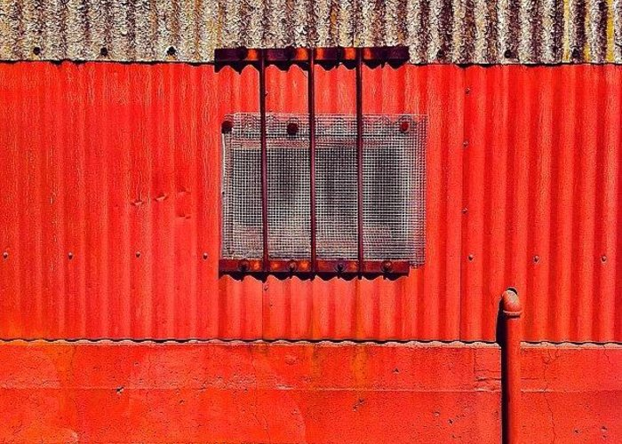 Red Industrial Wall Greeting Card featuring the photograph Corrugated by Julie Gebhardt