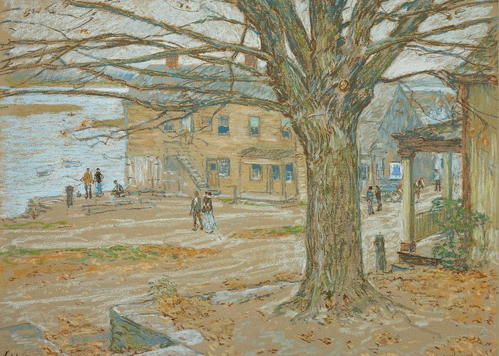 November Greeting Card featuring the pastel Cos Cob In November by Childe Hassam
