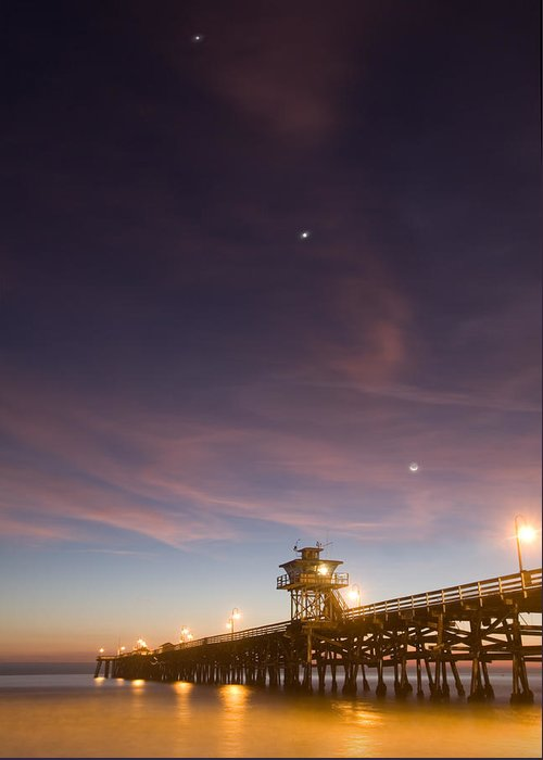 Pier Greeting Card featuring the photograph Cosmic Alignment by Cliff Wassmann