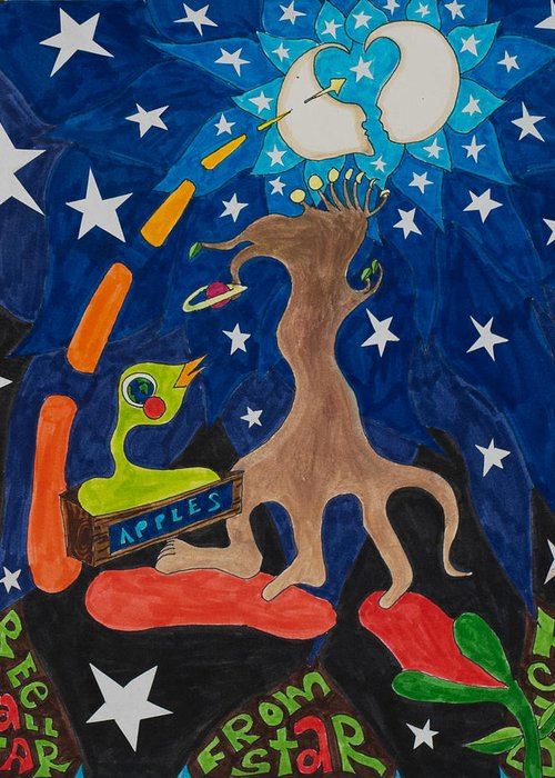 Apple Greeting Card featuring the mixed media Cosmic Ancestry by Eliza Furmansky