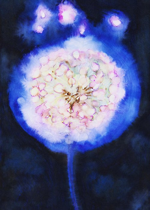 Abstract Greeting Card featuring the painting Cosmic Bloom by Tara Thelen