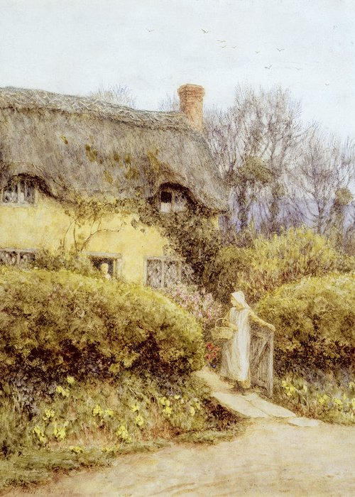 Apron Basket Greeting Card featuring the painting Cottage Near Freshwater by Helen Allingham