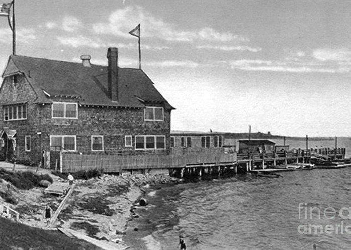 Cottage Park Yacht Club Greeting Card featuring the photograph Cottage Park Yacht Club 1902 by Extrospection Art