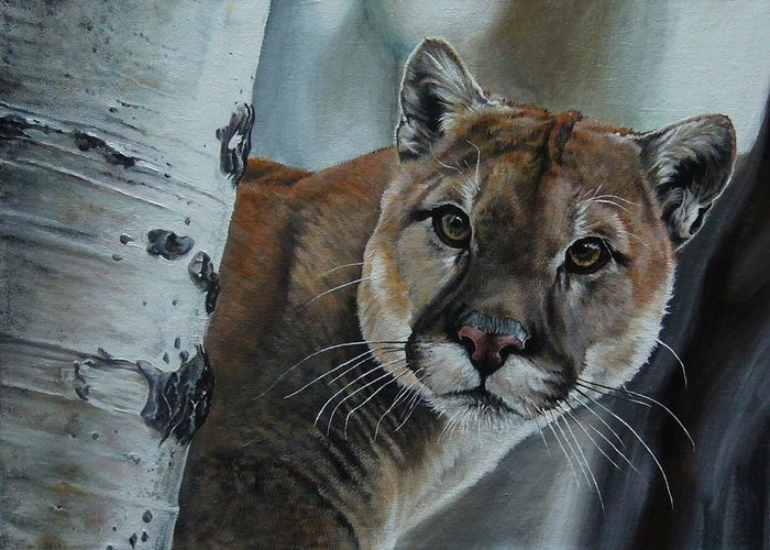 Landscape Greeting Card featuring the painting Cougar by Oleg Dashevsky