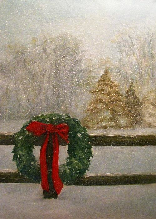 Christmas Greeting Card featuring the painting Country Christmas by Richard Klingbeil