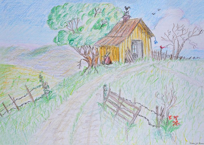 Nature Greeting Card featuring the drawing Country Woodshed by Debbie Portwood