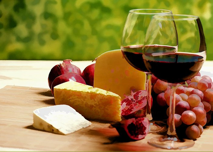 Wine Greeting Card featuring the painting Countryside Wine Cheese And Fruit by Elaine Plesser