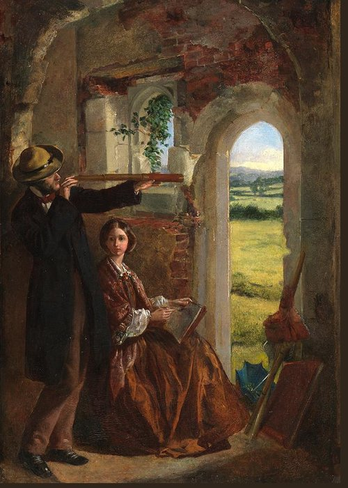Couple Observing A Landscape (oil On Card Laid On Panel)male; Female; Telescope; Ruin; Drawing; Sketching; Leisure; Outing; Victorian; Door Greeting Card featuring the painting Couple Observing A Landscape by English School