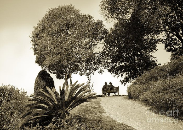 Couple Greeting Card featuring the photograph Couple On The Bench In Venice by Madeline Ellis
