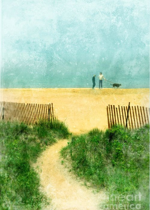 Couple Greeting Card featuring the photograph Couple Walking Dog On Beach by Jill Battaglia