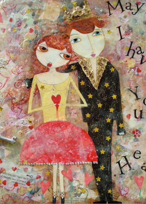 Couple Greeting Card featuring the painting Courting Couple by Denise Rivkin