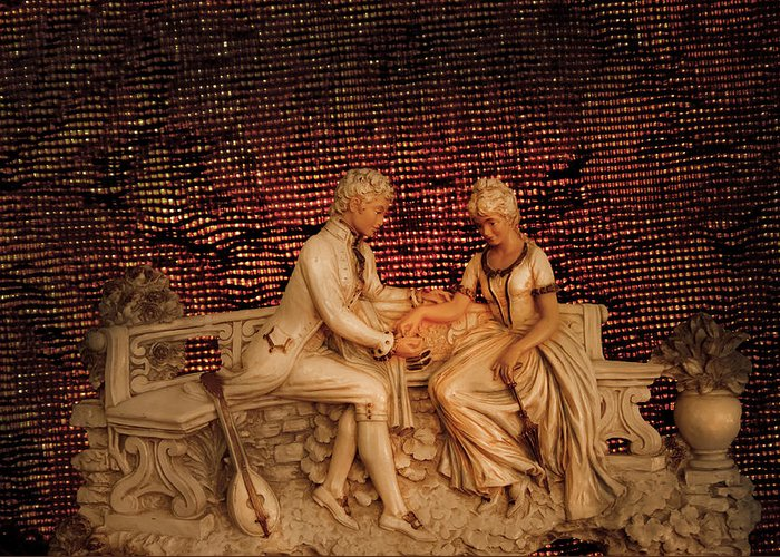Bench Courting Greeting Card featuring the photograph Courting by Randall Branham