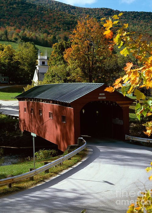 Arlington Greeting Card featuring the photograph Covered Bridge In Vermont by Rafael Macia and Photo Researchers