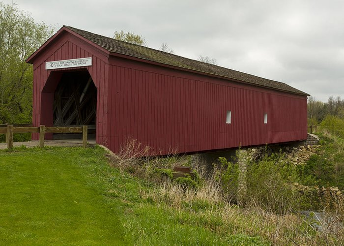 Bridge Greeting Card featuring the photograph Covered Bridge Zumbrota 1 by John Brueske