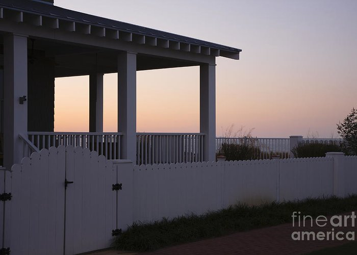 Architecture Greeting Card featuring the photograph Covered Porch And Fence At Sunset by Roberto Westbrook