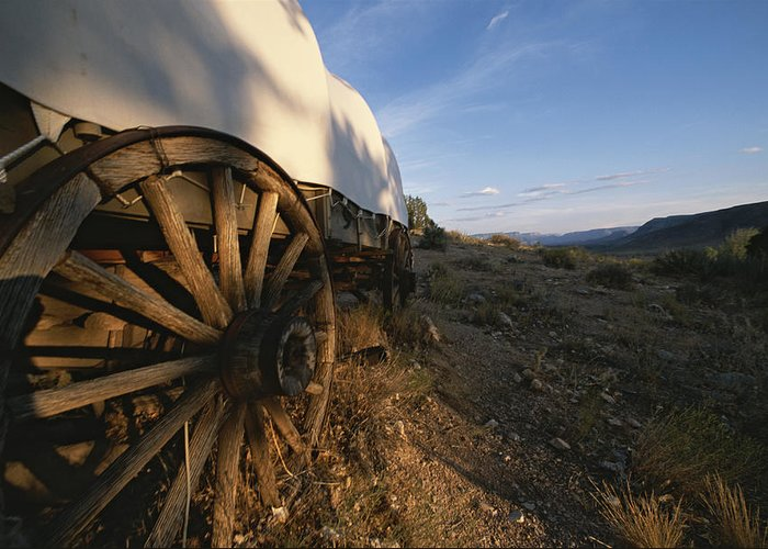 North America Greeting Card featuring the photograph Covered Wagon At Bar 10 Ranch by Todd Gipstein