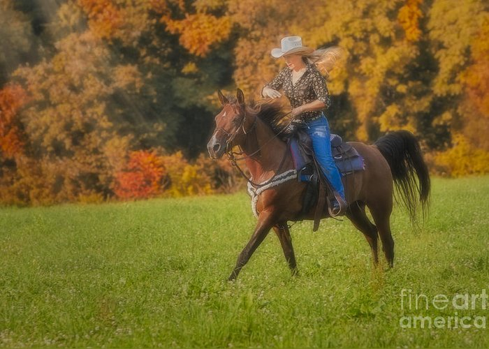 Horse Greeting Card featuring the photograph Cowgirl by Susan Candelario