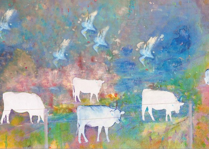 Abstract Greeting Card featuring the photograph Cows And Birds by Jeff Burgess