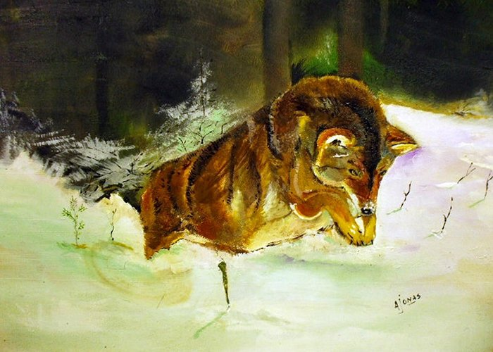Snow Greeting Card featuring the painting Coyote In The Snow by Amalia Jonas