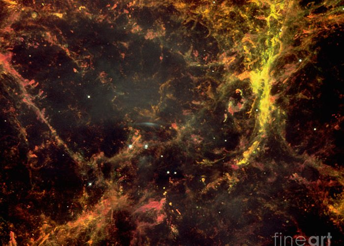 Astronomy Greeting Card featuring the photograph Crab Nebula by Nasa