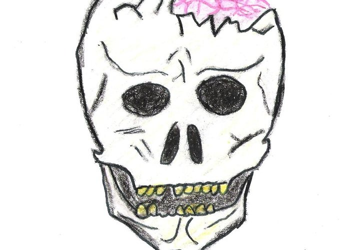 Skull Greeting Card featuring the drawing Cracked Skull by Jeannie Atwater Jordan Allen