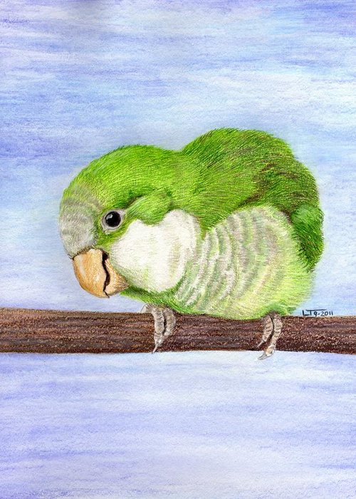 Bird Greeting Card featuring the painting Crackers by Laurilee Taylor