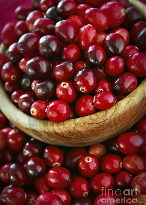 Cranberry Greeting Card featuring the photograph Cranberries In A Bowl by Elena Elisseeva