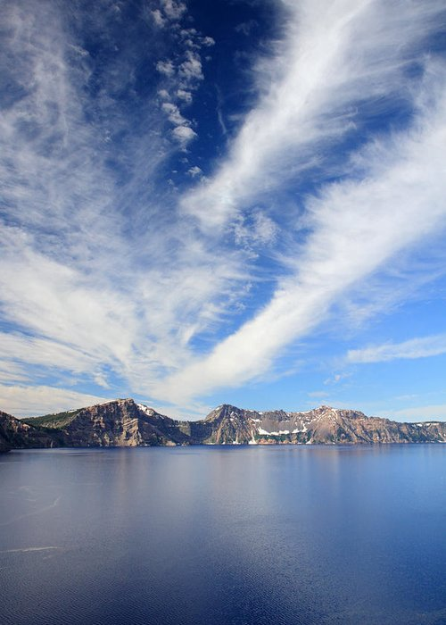 Crater Lake Greeting Card featuring the photograph Crater Lake Sky by Pierre Leclerc Photography