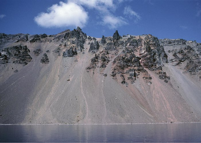 Hillman Peak Greeting Card featuring the photograph Crater Lake Volcanic Wall, Usa by Dr Juerg Alean