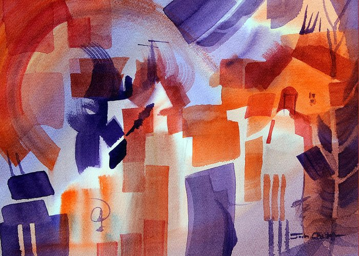 Abstract Watercolor Greeting Card featuring the painting Crazy Day. by Josh Chilton