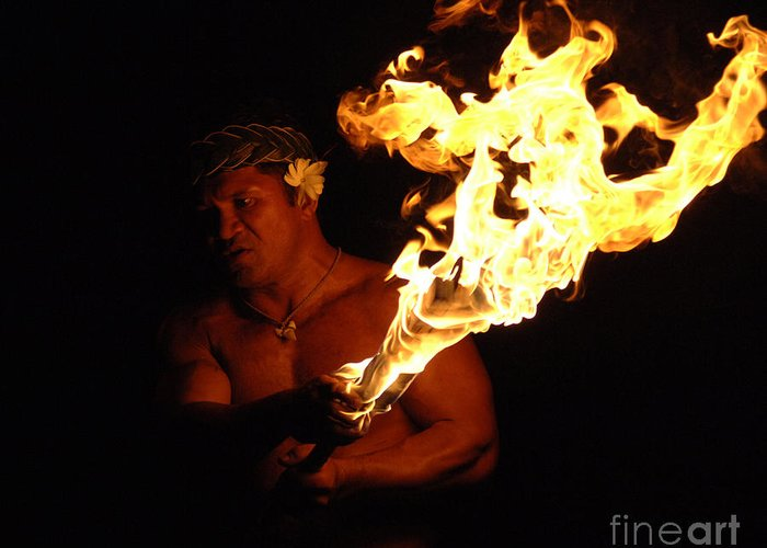 Hawaii Greeting Card featuring the photograph Creating With Fire by Bob Christopher