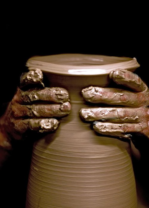 Potter Greeting Card featuring the photograph Creation At The Potter's Wheel by Rob Travis
