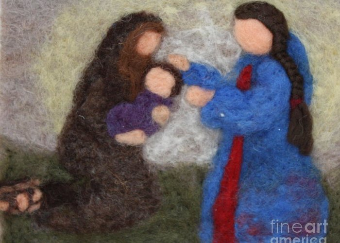 Needle Greeting Card featuring the tapestry - textile Creche Scene by Nicole Besack