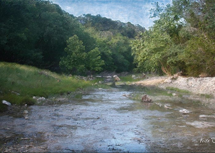 Texas Hill Country Paintings Greeting Card featuring the painting Creek Near Camp Verde 9107 by Fritz Ozuna