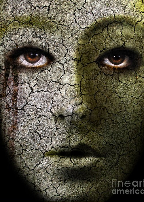 Face Greeting Card featuring the photograph Creepy Cracked Face With Tears by Jill Battaglia