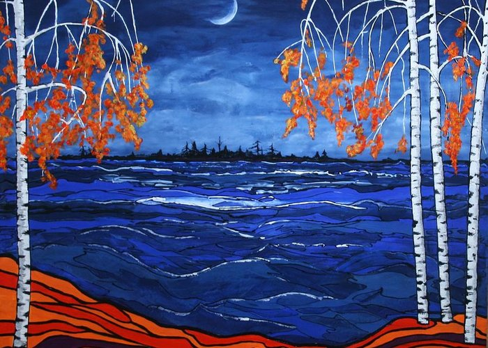 Moon Greeting Card featuring the painting Crescent Moon by Kathy Peltomaa Lewis