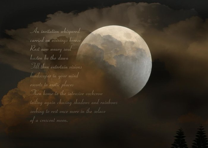 Poem Greeting Card featuring the photograph Cresent Moon by Joseph G Holland
