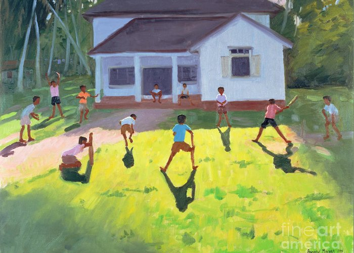 Children Greeting Card featuring the painting Cricket by Andrew Macara