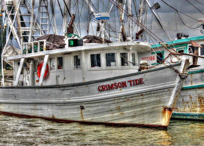 Shrimp Boat Greeting Card featuring the photograph Crimson Tide by Lynn Jordan