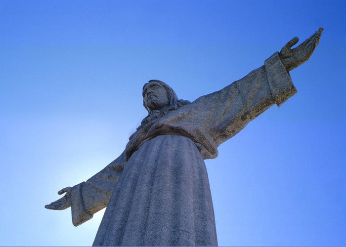 Catholic Monument Of Jesus Christ Inspired By The Christ The Redeemer Statue In Rio De Janeiro Greeting Card featuring the sculpture Cristo Rei by Anonymous