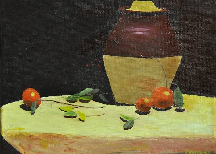 Still Life Greeting Card featuring the painting Crock With Fruit by Tom Amiss