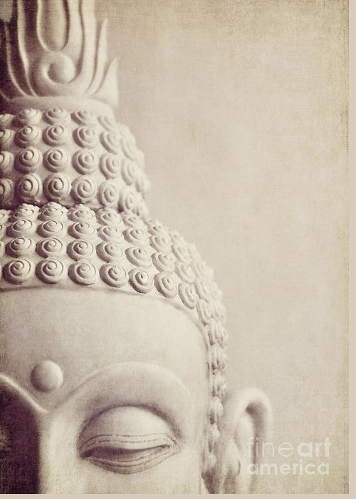 Buddha Greeting Card featuring the photograph Cropped Stone Buddha Head Statue by Lyn Randle