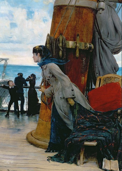 Cross Atlantic Voyage Greeting Card featuring the painting Cross Atlantic Voyage by Henry Bacon