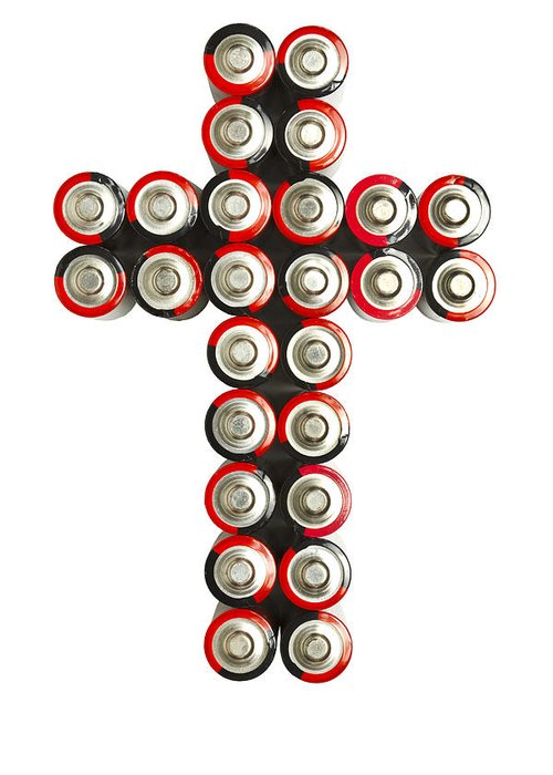 Cross Greeting Card featuring the photograph Cross Batteries 2 by John Brueske