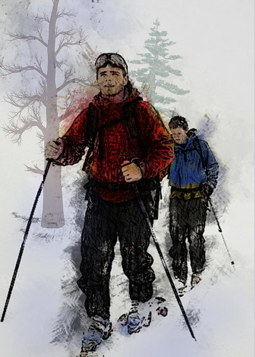 Ski Greeting Card featuring the painting Cross Country Skiers by Elaine Plesser