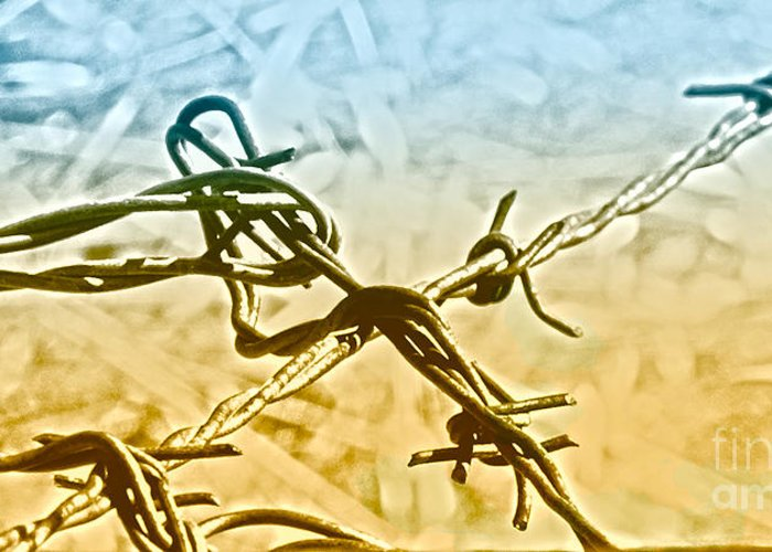 Barbwire Greeting Card featuring the digital art Crossroads Of Faith by Artist and Photographer Laura Wrede