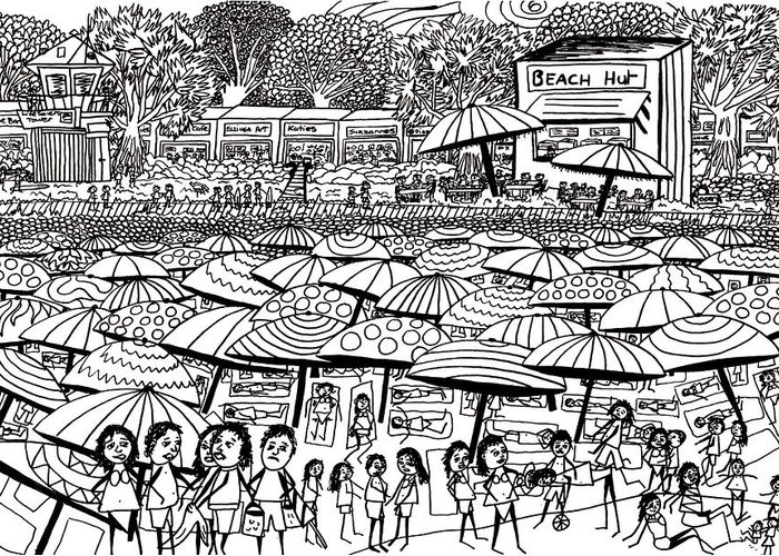 Beach Greeting Card featuring the drawing Crowded Beach Black And White by Karen Elzinga