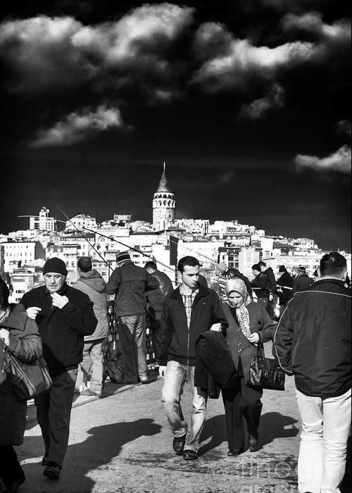 Crowded Galata Bridge Greeting Card featuring the photograph Crowded Galata Bridge by John Rizzuto