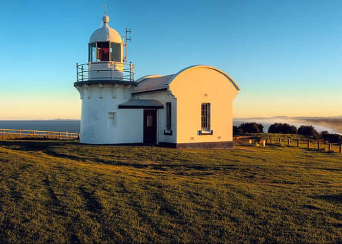 Sunset Greeting Card featuring the photograph Crowdy Head Lighthouse by Karl Bayer